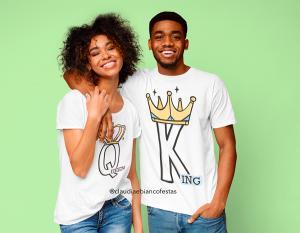 kit camiseta dia dos namorados - queem & king Tecido 100% Poliéster Estampa Colorida A3  Sublimação