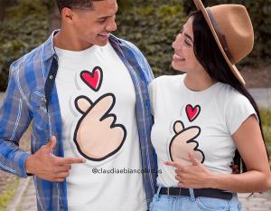 kit camiseta dia dos namorados - te amo Tecido 100% Poliéster Estampa Colorida A3  Sublimação