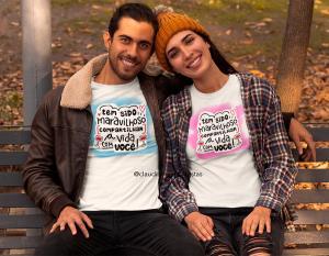 kit camiseta dia dos namorados - tem sido maravilhoso compartilhar a vida com você Tecido 100% Poliéster Estampa Colorida A3  Sublimação