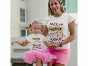 Kit Camiseta mamãe e filha pacotinho de amor Camisa Poliester e Body ribana 96% poliéster + 4% elastano Estampa Colorida  Sublimação