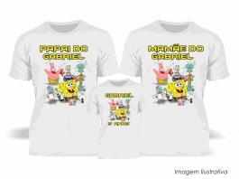 Kit Camiseta Temática Bo Esponja Tecido Poliéster Estampa Colorida A3  Sublimação