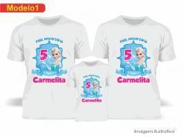 Kit Camiseta Temática Frozen Tecido Poliéster Estampa Colorida A3  Sublimação