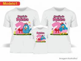 Kit Camiseta Temática Galinha Pintadinha Rosa Tecido Poliéster Estampa Colorida A3  Sublimação