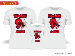 Kit Camiseta Temática Homem Aranha Tecido Poliéster Estampa Colorida A3  Sublimação