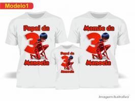 Kit Camiseta Temática Ladybug Tecido Poliéster Estampa Colorida A3  Sublimação
