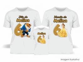 Kit Camiseta Temática A Bela e a Fera Tecido Poliéster Estampa Colorida A3  Sublimação