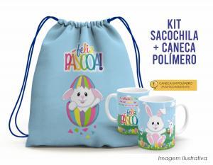 kit sacochila feliz páscoa + caneca plástica mod001 Tecido 100% Poliéster (microfibra)  Personalizado Frente e Verso Sublimação Alça na cor azul