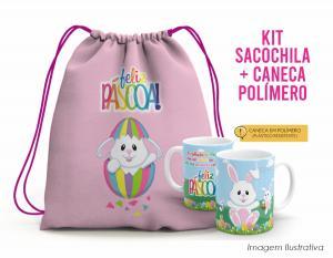 Kit Sacochila feliz páscoa + Caneca Polímero 02 Tecido 100% Poliéster (microfibra)  Personalizado Frente e Verso Sublimação Alça na cor rosa