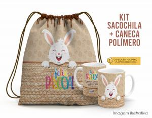 Kit Sacochila feliz páscoa + Caneca Polímero 05 Tecido 100% Poliéster (microfibra)  Personalizado Frente e Verso Sublimação Alça na cor marrom