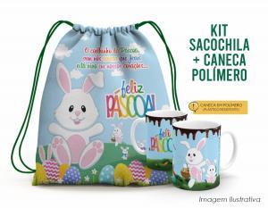 Kit Sacochila feliz páscoa + Caneca Polímero 10 Tecido 100% Poliéster (microfibra)  Personalizado Frente e Verso Sublimação Alça na cor verde