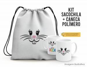 Kit Sacochila feliz páscoa + Caneca Polímero 11 Tecido 100% Poliéster (microfibra)  Personalizado Frente e Verso Sublimação Alça na cor preta