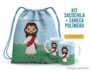 Kit Sacochila feliz páscoa + Caneca Polímero 12 Tecido 100% Poliéster (microfibra)  Personalizado Frente e Verso Sublimação Alça na cor azul