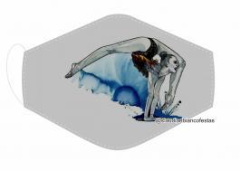 MÁSCARA EM TECIDO GINÁSTICA RÍTMICA MOD635 Estampa personalizada no tecido 100% poliéster   1 camada de TECIDO TRICOLINE 100% ALGODÃO formando uma dupla proteção. Costura