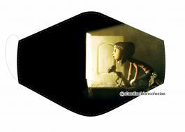 MÁSCARA EM TECIDO INFANTIL CORALINE MOD446 Estampa personalizada no tecido 100% poliéster   1 camada de TECIDO TRICOLINE 100% ALGODÃO formando uma dupla proteção. Costura