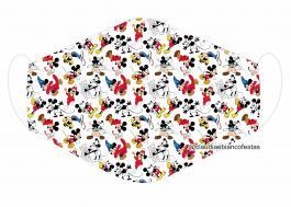 MÁSCARA EM TECIDO INFANTIL MICKEY MOD383 Estampa personalizada no tecido 100% poliéster   1 camada de TECIDO TRICOLINE 100% ALGODÃO formando uma dupla proteção. Costura
