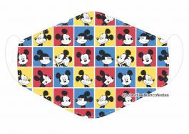 MÁSCARA EM TECIDO INFANTIL MICKEY MOD385 Estampa personalizada no tecido 100% poliéster   1 camada de TECIDO TRICOLINE 100% ALGODÃO formando uma dupla proteção. Costura