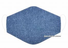 MÁSCARA EM TECIDO JEANS MOD495 Estampa personalizada no tecido 100% poliéster   1 camada de TECIDO TRICOLINE 100% ALGODÃO formando uma dupla proteção. Costura