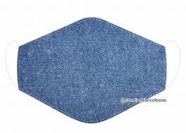 MÁSCARA EM TECIDO JEANS MOD497 Estampa personalizada no tecido 100% poliéster   1 camada de TECIDO TRICOLINE 100% ALGODÃO formando uma dupla proteção. Costura