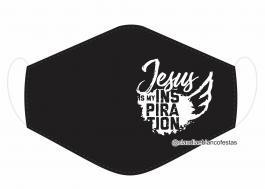MÁSCARA EM TECIDO JESUS MOD486 Estampa personalizada no tecido 100% poliéster   1 camada de TECIDO TRICOLINE 100% ALGODÃO formando uma dupla proteção. Costura