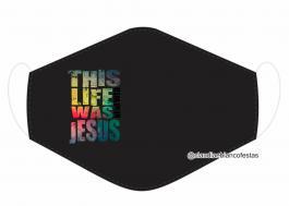MÁSCARA EM TECIDO JESUS  MOD337 Estampa personalizada no tecido 100% poliéster   1 camada de TECIDO TRICOLINE 100% ALGODÃO formando uma dupla proteção. Costura