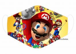 MÁSCARA EM TECIDO GAMES SUPER MARIO MOD195 Estampa personalizada no tecido 100% poliéster   1 camada de TECIDO TRICOLINE 100% ALGODÃO formando uma dupla proteção. Costura
