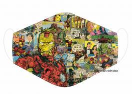 MÁSCARA EM TECIDO SUPER HEROES HOMEM DE FERRO MOD196 Estampa personalizada no tecido 100% poliéster   1 camada de TECIDO TRICOLINE 100% ALGODÃO formando uma dupla proteção. Costura