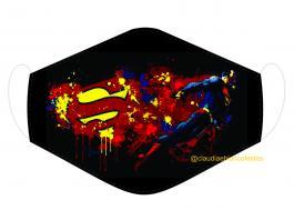 MÁSCARA EM TECIDO SUPER HEROES SUPERMAN MOD219 Estampa personalizada no tecido 100% poliéster   1 camada de TECIDO TRICOLINE 100% ALGODÃO formando uma dupla proteção. Costura