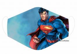 MÁSCARA EM TECIDO SUPER HEROES SUPERMAN MOD220 Estampa personalizada no tecido 100% poliéster   1 camada de TECIDO TRICOLINE 100% ALGODÃO formando uma dupla proteção. Costura