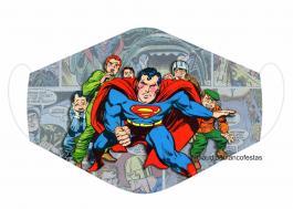 MÁSCARA EM TECIDO SUPER HEROES SUPERMAN MOD221 Estampa personalizada no tecido 100% poliéster   1 camada de TECIDO TRICOLINE 100% ALGODÃO formando uma dupla proteção. Costura