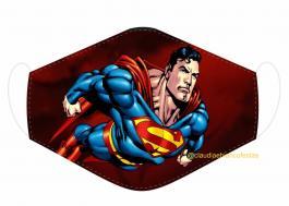 MÁSCARA EM TECIDO SUPER HEROES SUPERMAN MOD222 Estampa personalizada no tecido 100% poliéster   1 camada de TECIDO TRICOLINE 100% ALGODÃO formando uma dupla proteção. Costura