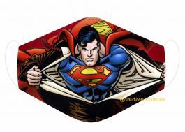 MÁSCARA EM TECIDO SUPER HEROES SUPERMAN MOD223 Estampa personalizada no tecido 100% poliéster   1 camada de TECIDO TRICOLINE 100% ALGODÃO formando uma dupla proteção. Costura