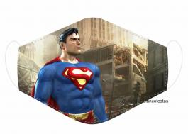 MÁSCARA EM TECIDO SUPER HEROES SUPERMAN MOD224 Estampa personalizada no tecido 100% poliéster   1 camada de TECIDO TRICOLINE 100% ALGODÃO formando uma dupla proteção. Costura