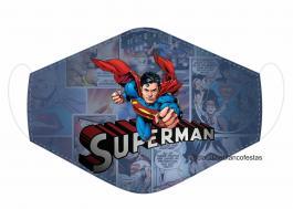 MÁSCARA EM TECIDO SUPER HEROES SUPERMAN MOD225 Estampa personalizada no tecido 100% poliéster   1 camada de TECIDO TRICOLINE 100% ALGODÃO formando uma dupla proteção. Costura