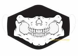 MÁSCARA EM TECIDO CAVEIRA MOD278 Estampa personalizada no tecido 100% poliéster   1 camada de TECIDO TRICOLINE 100% ALGODÃO formando uma dupla proteção. Costura