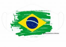 MÁSCARA EM TECIDO BRASIL MOD292 Estampa personalizada no tecido 100% poliéster   1 camada de TECIDO TRICOLINE 100% ALGODÃO formando uma dupla proteção. Costura