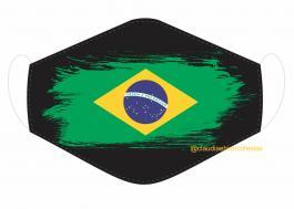 MÁSCARA EM TECIDO BRASIL MOD293 Estampa personalizada no tecido 100% poliéster   1 camada de TECIDO TRICOLINE 100% ALGODÃO formando uma dupla proteção. Costura