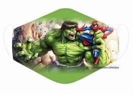 MÁSCARA EM TECIDO SUPER HEROES HULK MOD301 Estampa personalizada no tecido 100% poliéster   1 camada de TECIDO TRICOLINE 100% ALGODÃO formando uma dupla proteção. Costura