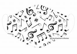MÁSCARA EM TECIDO NOTA MUSICAL MOD391 Estampa personalizada no tecido 100% poliéster   1 camada de TECIDO TRICOLINE 100% ALGODÃO formando uma dupla proteção. Costura