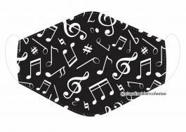 MÁSCARA EM TECIDO NOTA MUSICAL MOD392 Estampa personalizada no tecido 100% poliéster   1 camada de TECIDO TRICOLINE 100% ALGODÃO formando uma dupla proteção. Costura