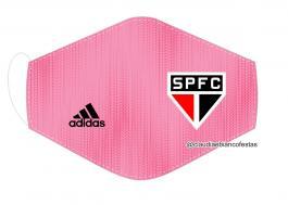 MÁSCARA EM TECIDO FUTEBOL (SÃO PAULO) MOD439 Estampa personalizada no tecido 100% poliéster   1 camada de TECIDO TRICOLINE 100% ALGODÃO formando uma dupla proteção. Costura