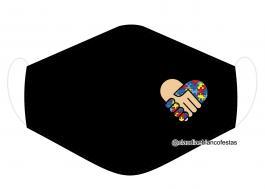 MÁSCARA EM TECIDO AUTISMO MOD793 Estampa personalizada no tecido 100% poliéster   1 camada de TECIDO TRICOLINE 100% ALGODÃO formando uma dupla proteção. Costura