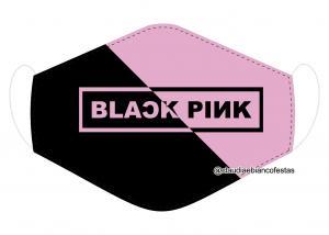 MÁSCARA EM TECIDO BLACK PINK MOD1218 Estampa personalizada no tecido 100% poliéster   1 camada de TECIDO TRICOLINE 100% ALGODÃO formando uma dupla proteção. Costura