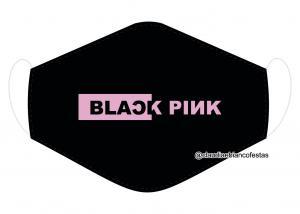 MÁSCARA EM TECIDO BLACK PINK MOD1222 Estampa personalizada no tecido 100% poliéster   1 camada de TECIDO TRICOLINE 100% ALGODÃO formando uma dupla proteção. Costura