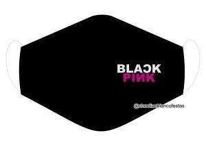 MÁSCARA EM TECIDO BLACK PINK MOD1224 Estampa personalizada no tecido 100% poliéster   1 camada de TECIDO TRICOLINE 100% ALGODÃO formando uma dupla proteção. Costura