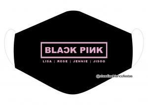 MÁSCARA EM TECIDO BLACK PINK MOD1228 Estampa personalizada no tecido 100% poliéster   1 camada de TECIDO TRICOLINE 100% ALGODÃO formando uma dupla proteção. Costura