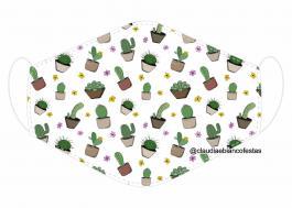 MÁSCARA EM TECIDO CACTOS MOD676 Estampa personalizada no tecido 100% poliéster   1 camada de TECIDO TRICOLINE 100% ALGODÃO formando uma dupla proteção. Costura