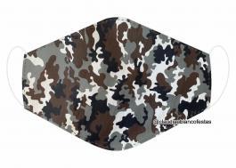 MÁSCARA EM TECIDO CAMUFLADA MOD678 Estampa personalizada no tecido 100% poliéster   1 camada de TECIDO TRICOLINE 100% ALGODÃO formando uma dupla proteção. Costura