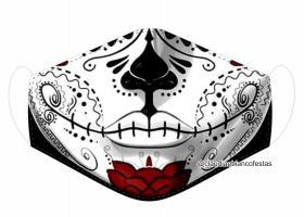 MÁSCARA EM TECIDO CAVEIRA MEXICANA MOD942 Estampa personalizada no tecido 100% poliéster   1 camada de TECIDO TRICOLINE 100% ALGODÃO formando uma dupla proteção. Costura