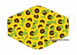MÁSCARA EM TECIDO GIRASOL MOD682 Estampa personalizada no tecido 100% poliéster   1 camada de TECIDO TRICOLINE 100% ALGODÃO formando uma dupla proteção. Costura