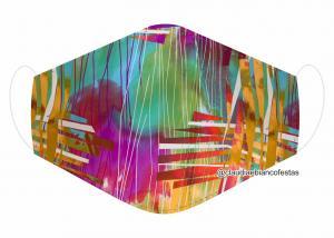 MÁSCARA EM TECIDO ESTAMPA DIVERSAS MOD1203 Estampa personalizada no tecido 100% poliéster   1 camada de TECIDO TRICOLINE 100% ALGODÃO formando uma dupla proteção. Costura